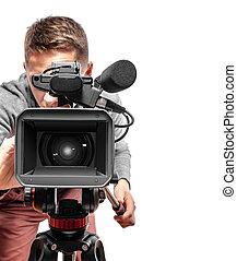 ビデオ, operator., カメラ