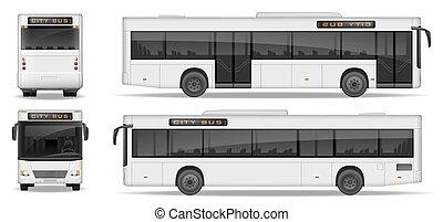 ビュー。, 乗客, 側, 広告, illustration., mockup, バス, 輸送, 隔離された, 現実的, ベクトル, バックグラウンド。, テンプレート, 前部, 白, 都市, 後部, design.