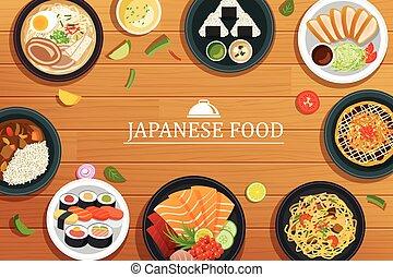 ビュー。, 食物, 木製である, ベクトル, バックグラウンド。, 上, 日本語