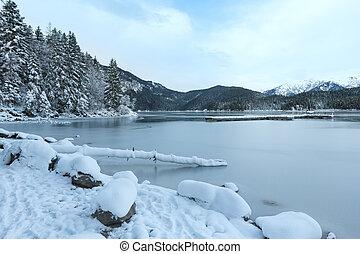 ビュー。, eibsee, 冬, 湖