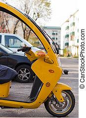 ビュー。, wheeles, キャビン, バックグラウンド。, 側, 自動車, ぼんやりさせられた, 3, オートバイ