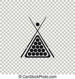 ビリヤードの合図, ベクトル, バックグラウンド。, ボール, 三角形, 棚, アイコン, 隔離された, design., 平ら, イラスト, 透明