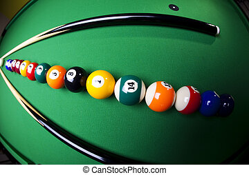 ビリヤードの テーブル, そして, ボール