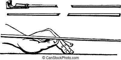 ビリヤード, 型, 手, キュースティック, ポジション, 左, engraving.