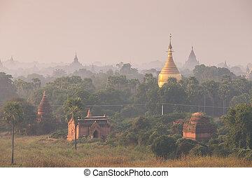 ビルマ, 古代, 古い, ミャンマー, ), (, 上に, bagan, 塔, 日の出