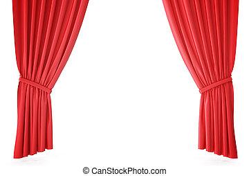 ビロード, 古典である, 劇場, レンダリング, drapery., 深紅, ステージ, カーテン, 劇場, 絹, curtain., 赤, 3d