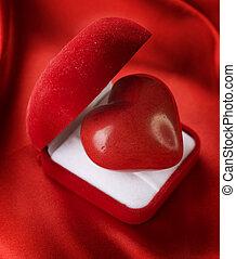 ビロード, 心, concept., バレンタイン, 贈り物の箱, 赤