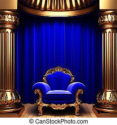 ビロード, 青, 金, コラム, 椅子, カーテン