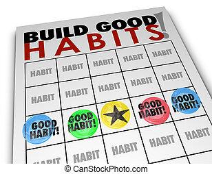 ビンゴ, よい, 発展しなさい, 技能, 習慣, 成長, 建造しなさい, 強い, カード