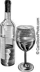 ビンテージ・ワイン, びん, 木版, ガラス