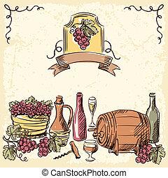 ビンテージ・ワイン, 引かれる, illustration., 手
