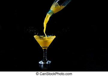 ビーカー, ガラス, 注がれた, ある, ジュース