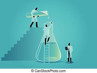 ビーカー, 仕事, チューブ, ガラス, 実験室, 研究者