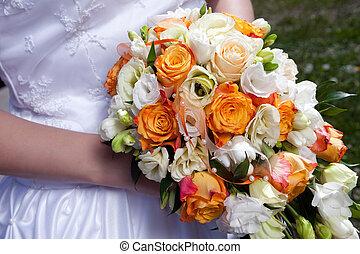 ビーズ, ばら, 花束, 結婚式, 花嫁, 手, オレンジ, 飾られる, リボン, 白