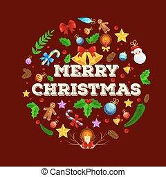 ビーズ, ベクトル, のように, イブ, 年, 鹿, 白熱, 飾る, ライト, トナカイ, 木。, illustation., 装飾, 角, 新しい, クリスマス, 幸せ