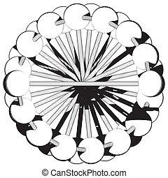 ビーズ, 円, 抽象的, 横列