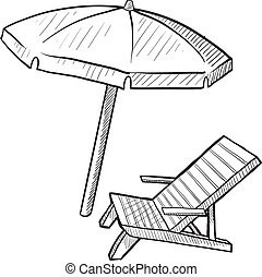 ビーチパラソル, 椅子, スケッチ