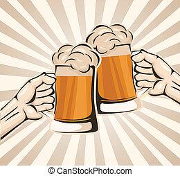 ビール, こんがり焼ける