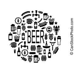 ビール, アイコン, 黒, スナック