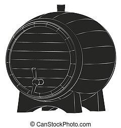 ビール, シルエット, 樽