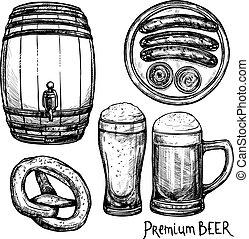 ビール, スケッチ, 装飾用である, アイコン, セット