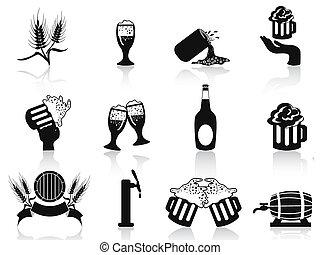 ビール, セット, 黒, アイコン