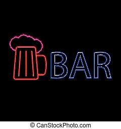 ビール, ネオン, bar.