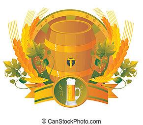 ビール, ビネット, ガラス, 小樽