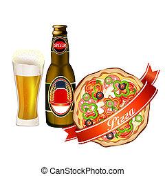 ビール, ピザ