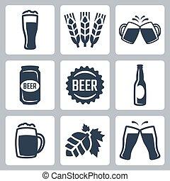 ビール, ベクトル, セット, 関係した, アイコン