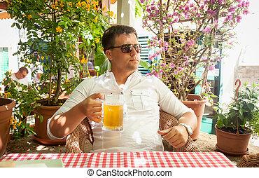 ビール, 人, 飲むこと, 若い, レストラン