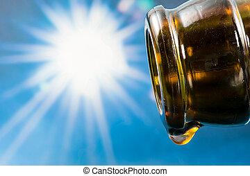 ビール, 低下, 最後, 空のビン