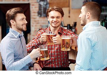 ビール, 友人, 持ちなさい, pub