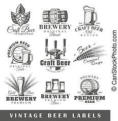 ビール, 型, セット, ラベル