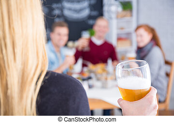 ビール, 女, 手