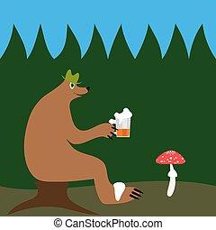 ビール, 森林, 熊
