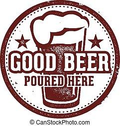 ビール, 注がれた, ここに, よい