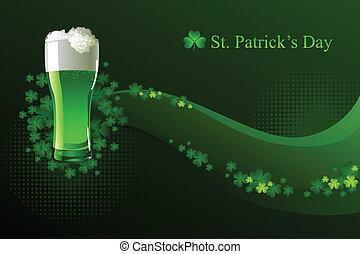 ビール, 緑, patrick's, 日, st.