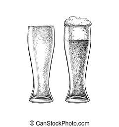 ビール, 隔離された, ガラス