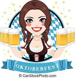 ビール, oktoberfest, ウェートレス