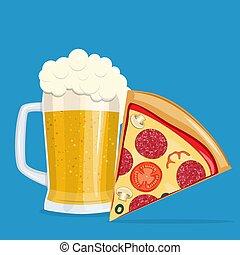 ビール, pizza.