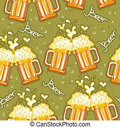 ビール, seamless, pattern.vector, ビールのガラス, 背景