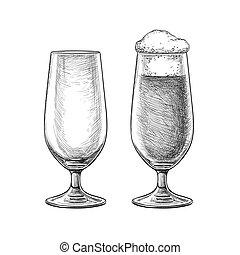 ビール, skatch, ガラス