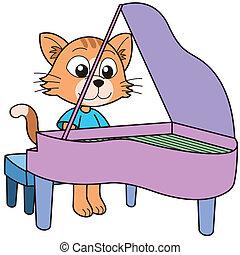 ピアノ, ねこ, 遊び, 漫画