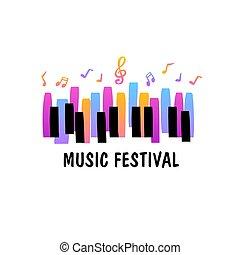 ピアノ, ジャズ, 背景, template., 音楽, ポスター, コンサート, 祝祭