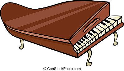 ピアノ, 芸術, 漫画, イラスト, クリップ