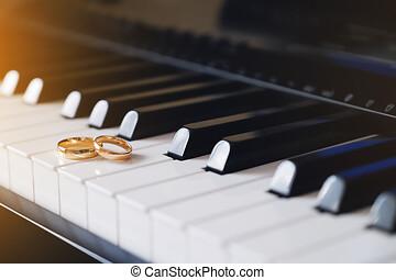 ピアノ, 金, リング, keys., うそ, 結婚式