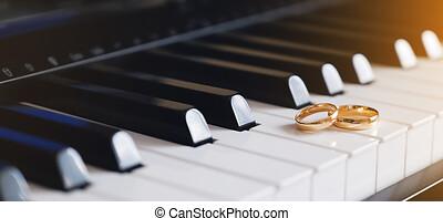 ピアノ, 金, 結婚式, うそ, keys., リング