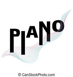 ピアノ, 音楽, vector., 活版印刷, 祝祭, テンプレート, ポスター
