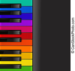 ピアノ, 黒い背景, カラフルである, キーボード